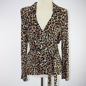 TALBOTS Slinky Knit Leopard Plunging Neck Wrap Top